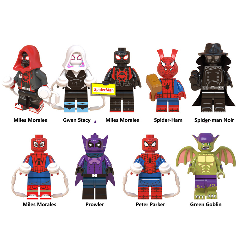 9PCS/LOT Spiderman Building Block Into The Spider-verse Spider-ham Spider-man Noir Bricks Legoings Minifigured Toys For Children