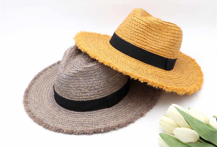 202007-gaoda-10205 herbe de raphia à la main beaucoup de couleur dame fedoras casquette hommes femmes loisirs vacances jazz panama chapeau