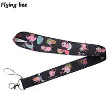 Flyingbee Courage the Cowardly Dog Cute Lanyard Phone Rope Keychains Phone Lanyard for Keys ID Card Cartoon Lanyards X0379
