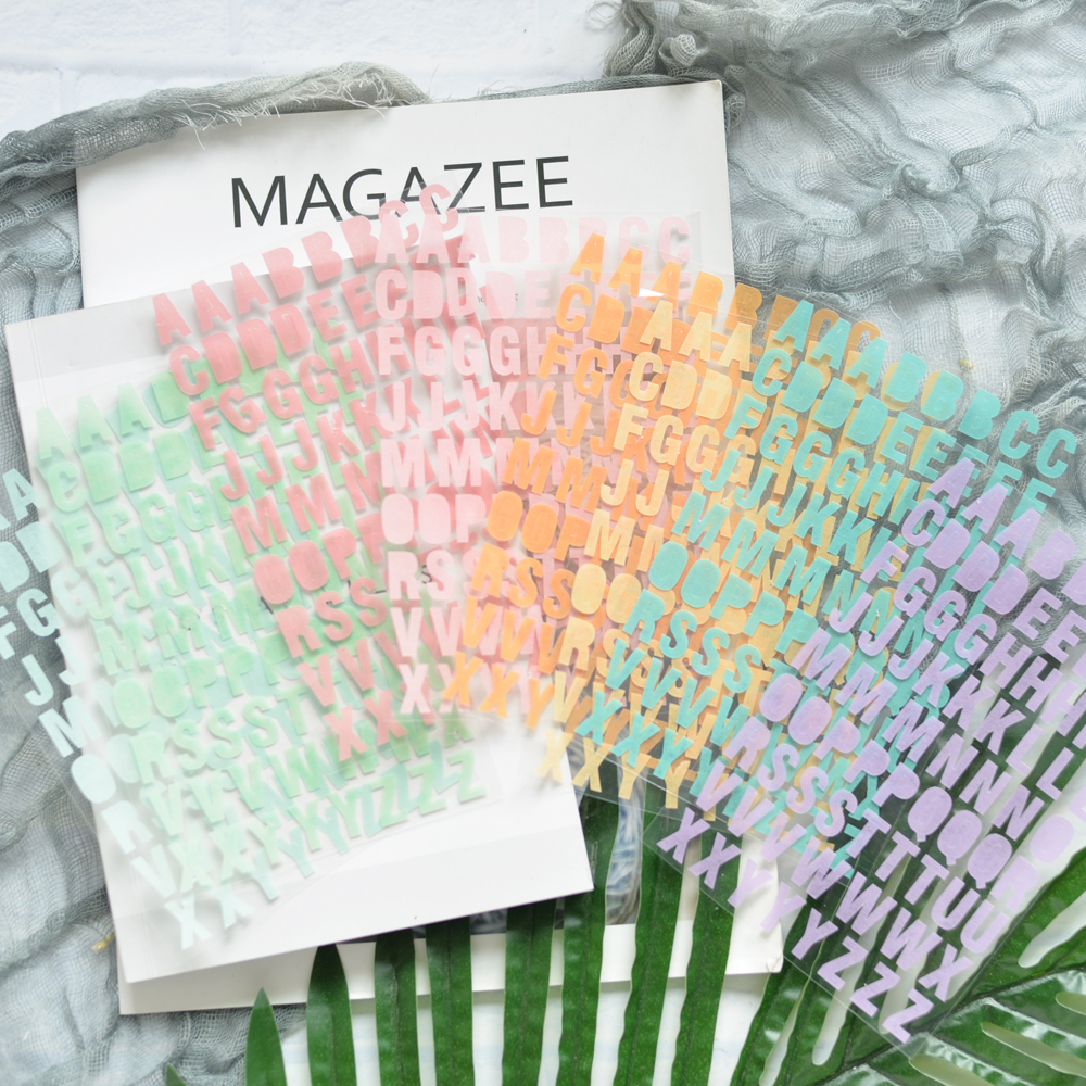 WOKO 8 Sheets Colorful Base Alphabet Sticker Rainbow English Letter Decorative Sticker Cute DIY Scrapbooking Planner Photo Diary