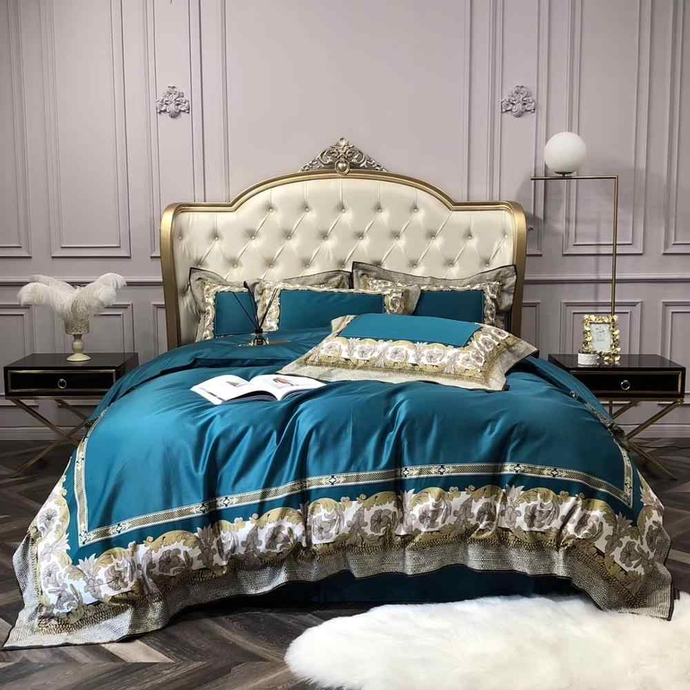 High-end French Italy Design Yellow Rococo Print 4PCS King Queen Size Quilts White Blue Gold Wedding Luxury Bedding Sets