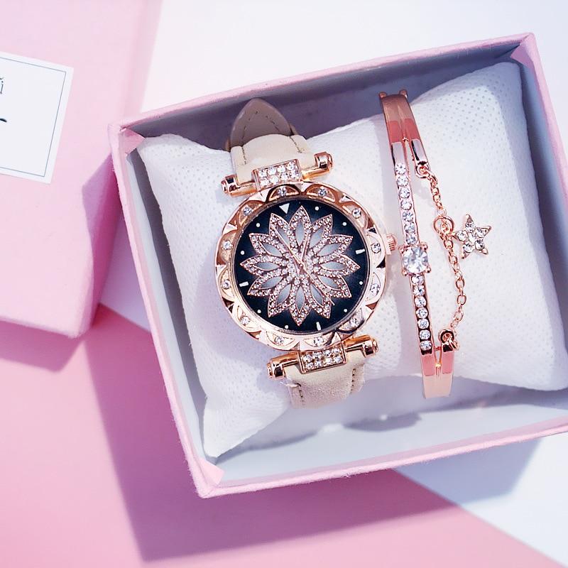 2020 New Fashion European Popular Style Women Watch + Bracelet Luxury Brand Quartz Watches Reloj Mujer Casual Leather Wristwatch