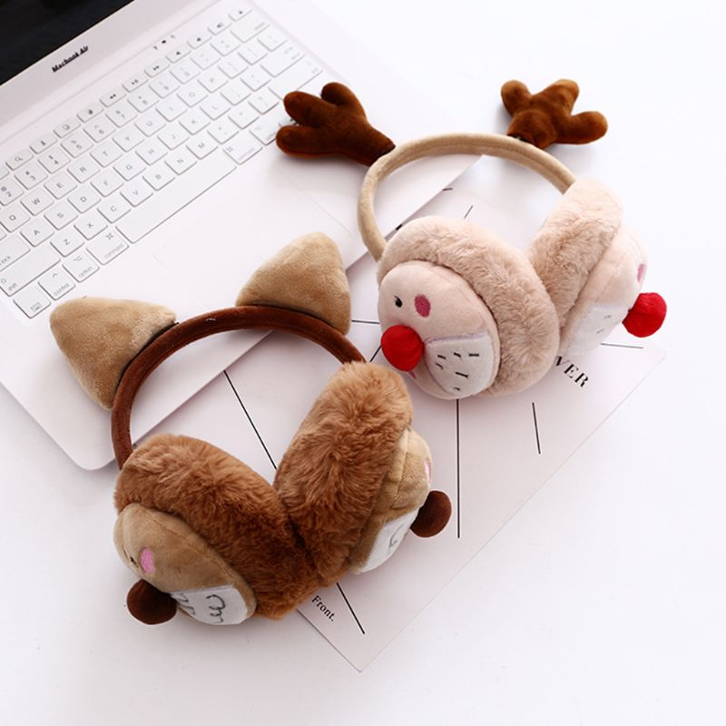 Women Girls Winter Christmas Fluffy Plush Earmuffs Cute Cartoon Reindeer Antler Puppy Dog Earflap Ear Warmers Holiday