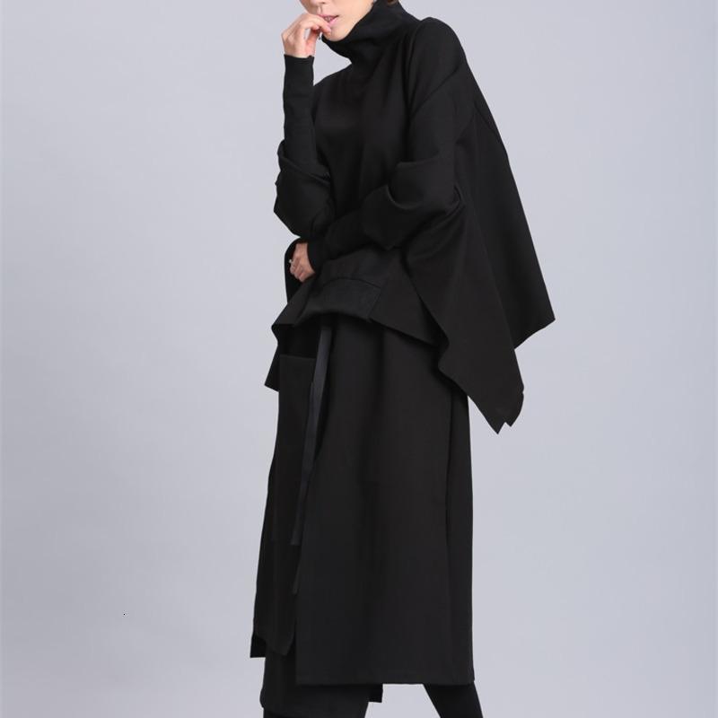 H664c530ff64848b29f0ccecf246a442bk [EAM] 2019 New Spring Black Full Batwing Sleeve Turtleneck Collar Pullover Loose Irregular Women Fashion Tide Coat OA869
