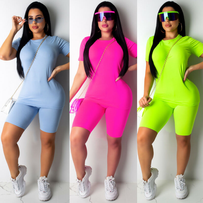 2019 2PCS Women Sports Suit Solid Color Short Sleeve O Neck Tops Shorts Outfit Yoga Workout Clothes Tracksuit