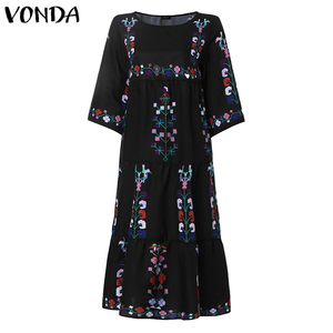 Image 4 - Bohemian Women Vintage Print Dress 2020 VONDA Sexy O Neck 3/4 Sleeve Maternity Dresses Plus Size Casual Loose Vestidos Femme