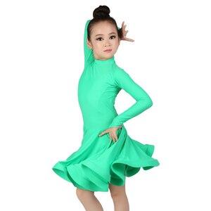 Image 4 - Girls Ballroom Dance Dresses Junior Latin Dress Knee Length Flamenco Dance Costumes