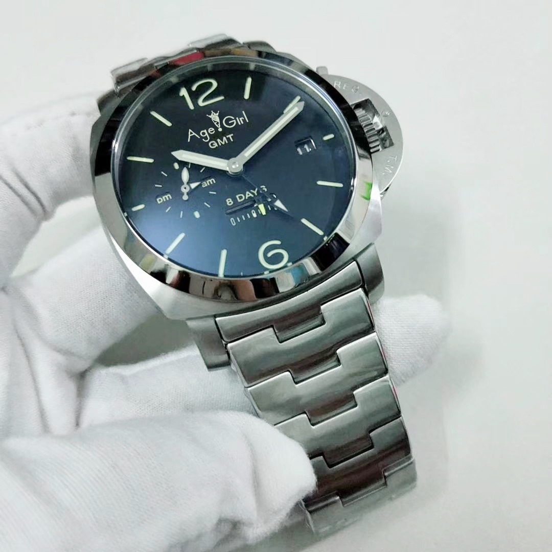 Luxury Brand New Men Automatic Mechanical Sapphire Glass Back Stainless Steel 1950 GMT 8 Days Watch Luminous 44MM Green Dial