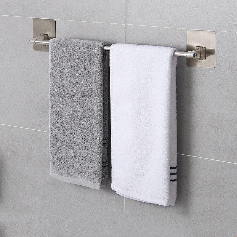 Self Adhesive Stainless Steel Bath Towel Holder Wall Mounted Kitchen Bath Rail Hanger Towel Rack Single Rod Organiser Storage