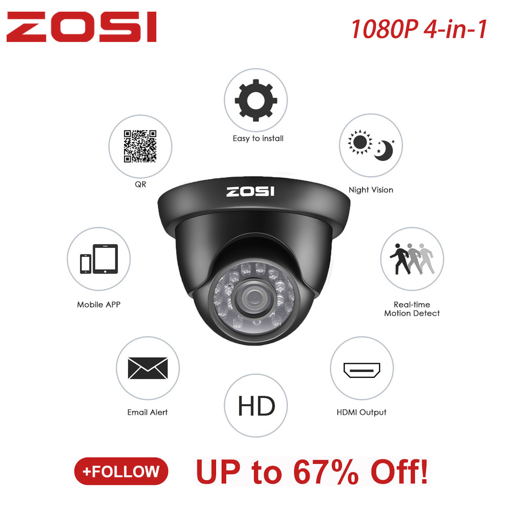 ZOSI 1080P TVI CVBS AHD CVI 4-in-1 HD Video Security Dome Camera With IR-Cut Night Vision And IP67 Weatherproof CCTV Camera