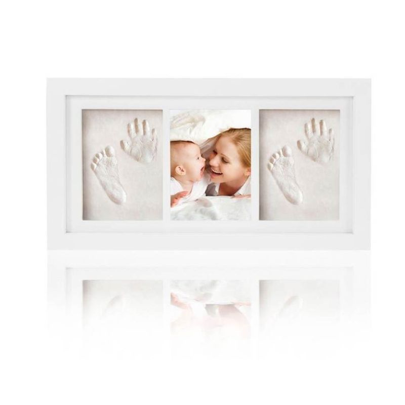 Baby Kid Children Foot Finger Hand Wooden Photo Frame Set Print Clay Ink Kit Gift Memory