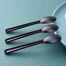 100 шт портативная Прозрачная черная пластиковая одноразовая ложка кухонная посуда