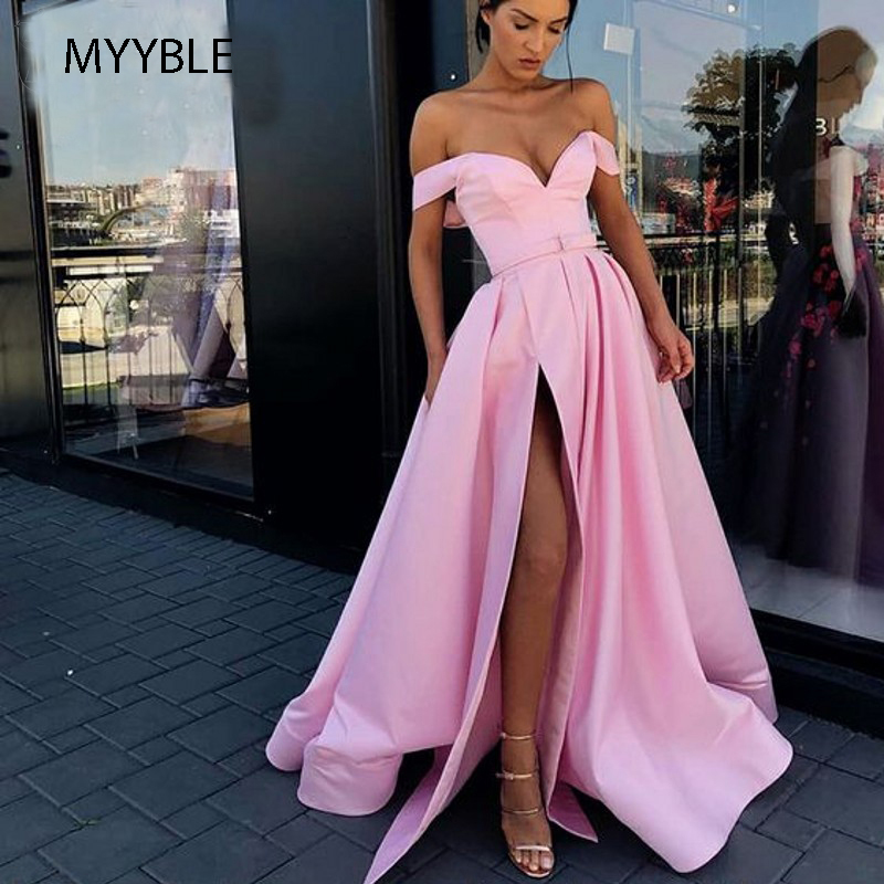 Red Prom Dresses 2020 Off The Shoulder High Slit Long Prom Gown With Pockets Vestidos De Fiesta Largos Elegantes De Gala