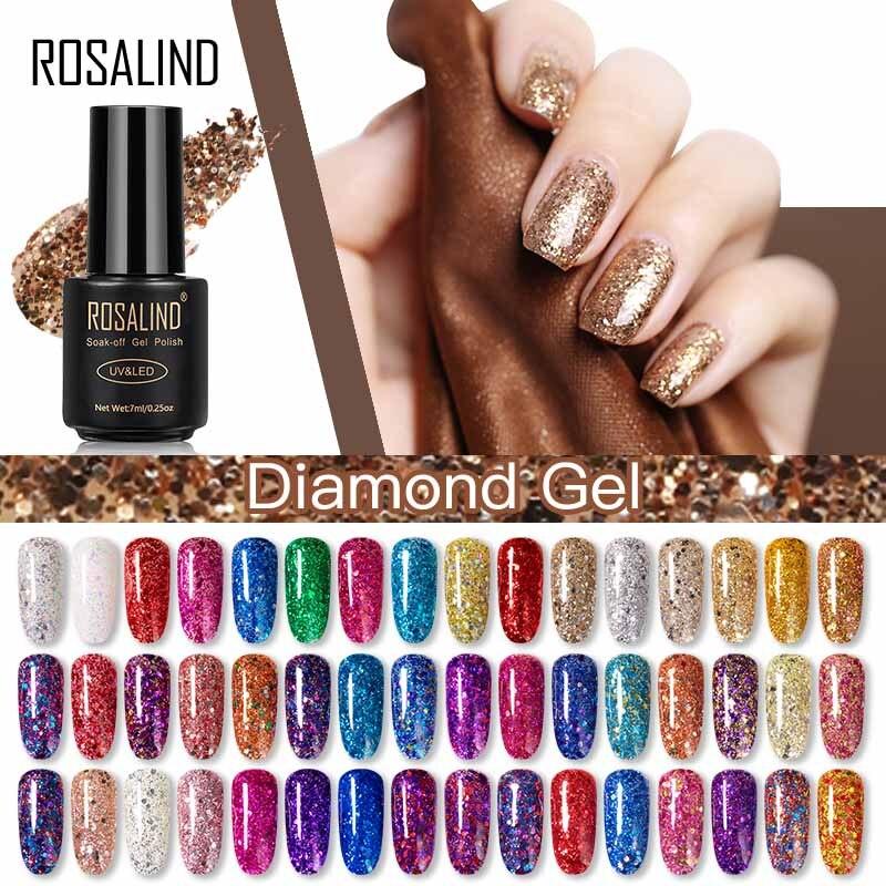ROSALIND Hybrid Varnishes Glitter Gel Nail Polish All For Manicure Semi Permanent UV Gel Nail Lacquer Soak Off Top Base  Coat