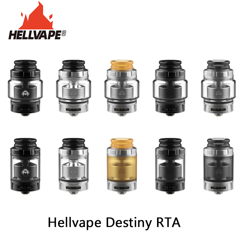 Original Vape Tank Hellvape Destiny RTA 2ml/4ml Tank Capacity With 810 Drip Tip & 24mm Diameter Electronic Cigarette Atomizer