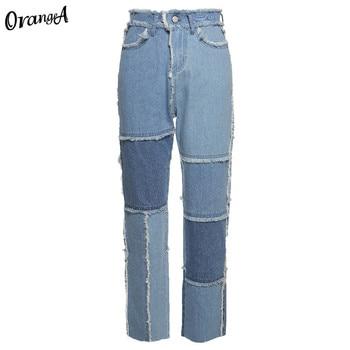 OrangeA autumn women cowboy striped patchwork street casual hip hop high waist loose straight jeans pants mujer fashion straight 12