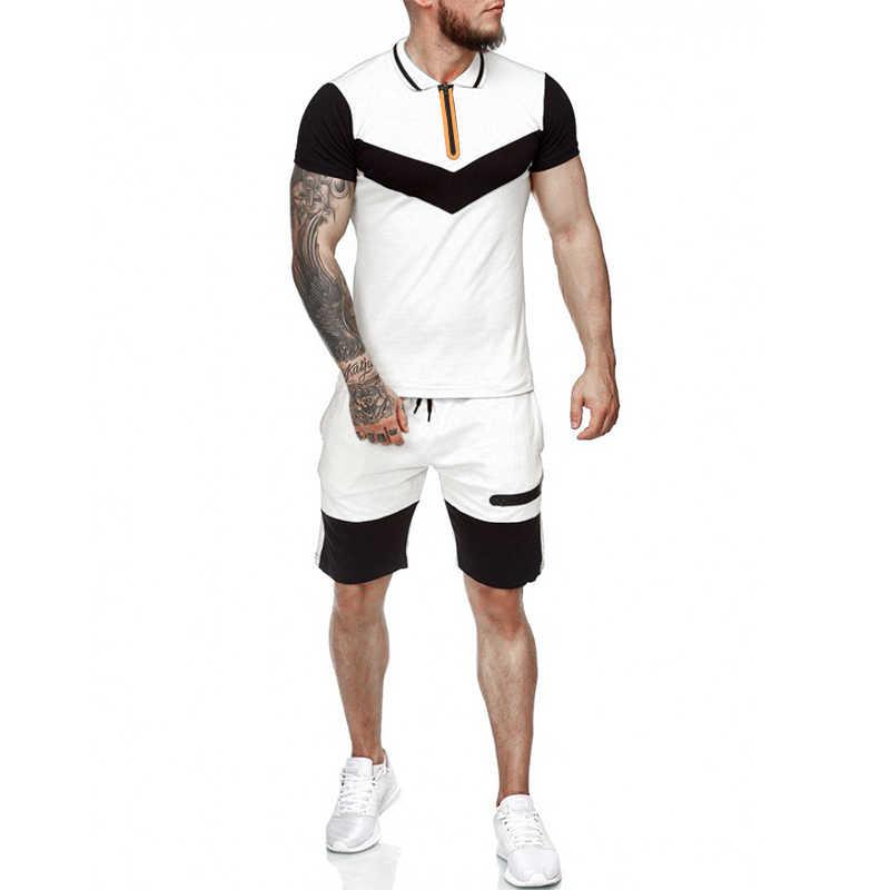 Traje de suor masculino, conjunto duas peças de roupas para o verão, camisa de manga curta, agasalho esportivo, colorblock, 2020 nova varal