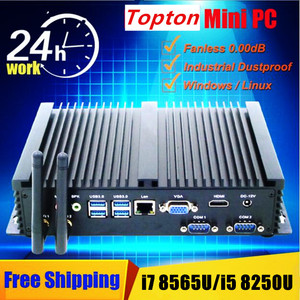 Image 2 - 2020 الصناعية بدون مروحة كمبيوتر مصغر ويندوز 10 برو i7 8565U i5 8265U i3 7100U 1 * Lan 2 * RS232 7 * USB واي فاي HDMI لينكس كمبيوتر مكتبي