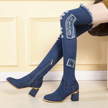 цена на Womens Denim Boots Over The Knee Pointed Toe 7CM Thick High Heels Shoes Woman Casual Tassel Cut Out Jeans Long Botas Mujer 35-40