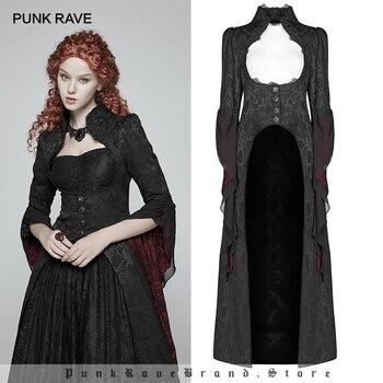 Женское длинное пальто, черная куртка в стиле панк, в стиле ретро