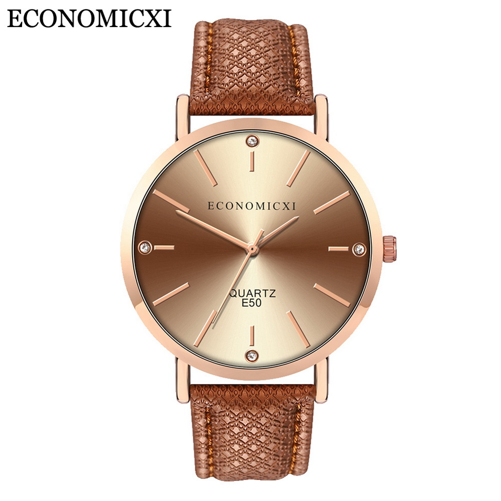 Ladies Causal Analog Quartz Watch Round Dial With PU Leather Strap Band LXH