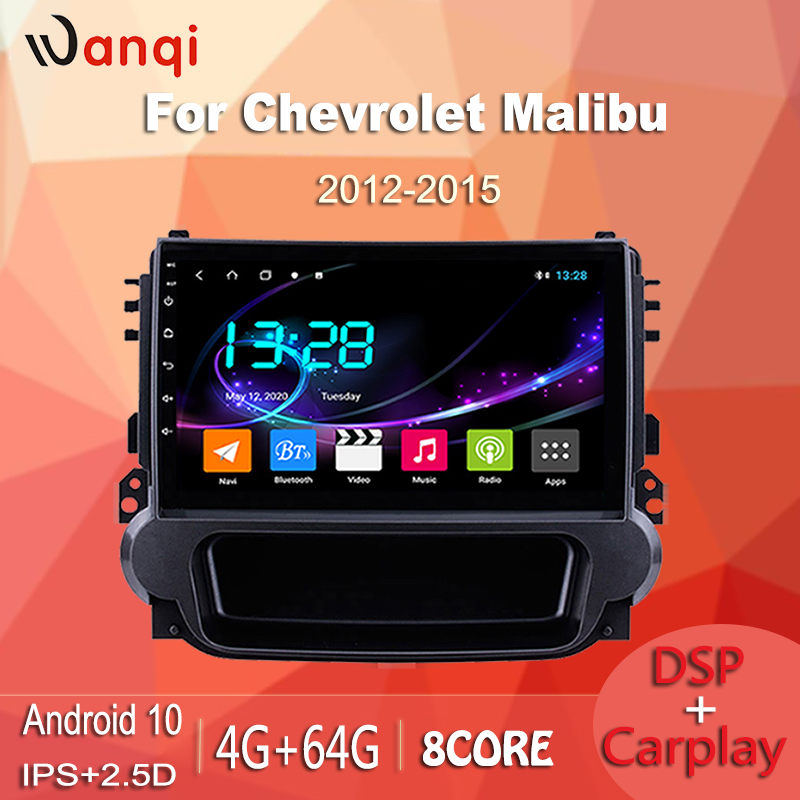 wanqi TS9 Android 10 4G+64G ForCHEVROLET Malibu 2012-2015 Car Radio Multimedia Video Player Navigation GPS DVD with dsp carplay image