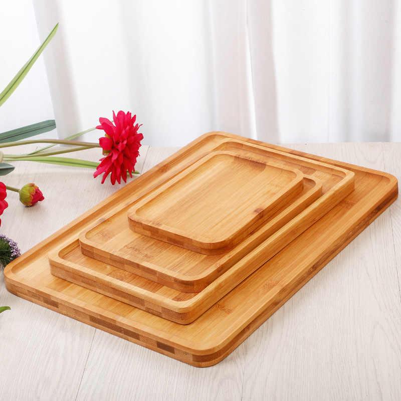 รูปสี่เหลี่ยมผืนผ้าไม้ไผ่แผ่นถาดผลไม้จานจานรองถาดชาขนมหวานอาหารค่ำแผ่นขนมปัง