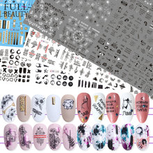 36 Pcs Dicampur Huruf Hitam Slider Nails Sticker Set Campuran Bunga Air Transfer Stiker Manikur Dekorasi Tips Kuku Membungkus CH974(China)