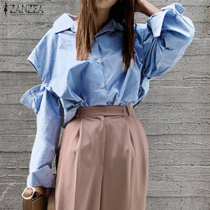 Fashion Women OL Blouse ZANZEA Casual Lapel Neck Long Sleeve Shirt Spring Buttons Down Blusas Female Solid Tops Chic Chemise