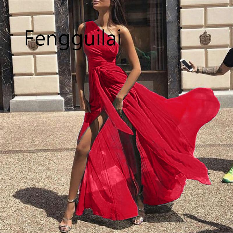 2019 Woment Solid A-Line Chiffon Dress Female Elegant One-Shoulder Maxi Party Ladies Slim Ankle-Length Dresses Vestidos