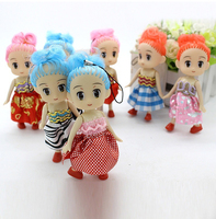 100pcs/Lot 12CM Cute Doll Keychain Cute Girl Key Chain Baby Toys Mobile Phone Sling Cell Phone Pendant Mobile Straps Hang Rope