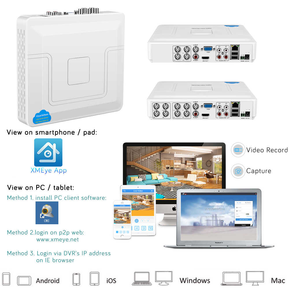 H.264 Onvif 4 قناة 8Ch CCTV الهجين DVR 1080N 5IN1 مسجل ل كاميرا ahd TVI CVI التناظرية كاميرا صغيرة NVR ل IP كاميرا PTZ