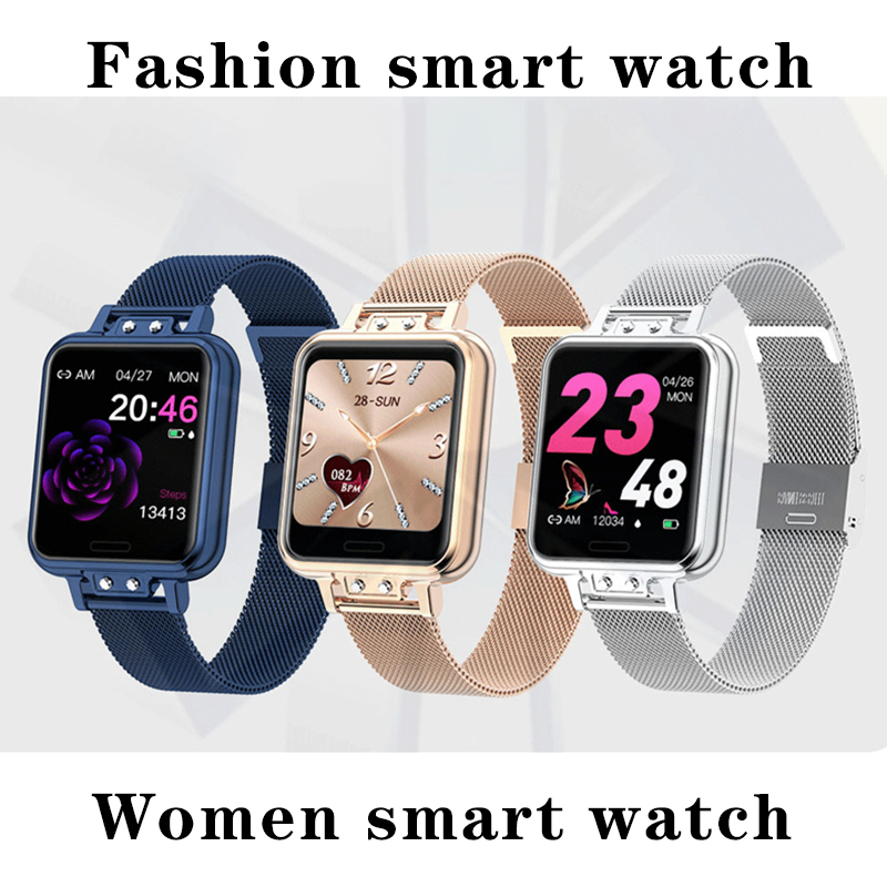 LIGE Alloy Stainless Steel Smart Watch Women Fashion Waterproof Ladies smartwatch Android ios Heart Rate Blood Pressure Monitor