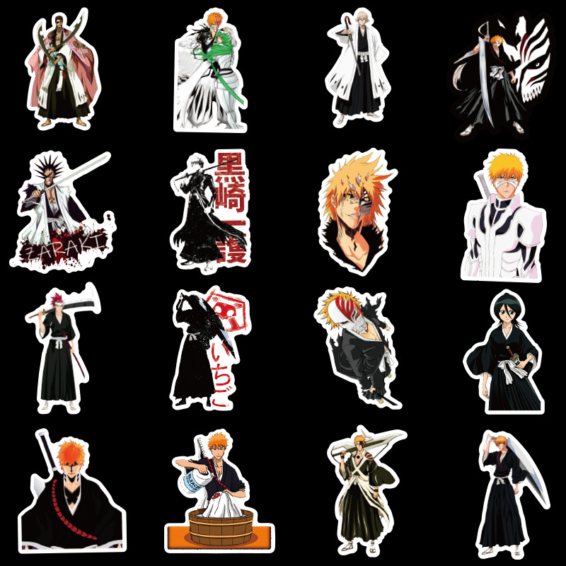 50Pcs/pack BLEACH Stickers Japanese Anime Stickers Japanese Manga for Laptop Case Car Motorcycle Skateboard Luggage Guitar