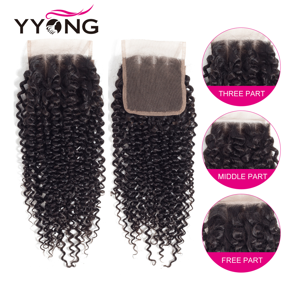 Yyong 4X4 Lace Closure  Kinky Curly Hair 100%  Lace Closure Bleached Knots Free Part Natural Hairline 4