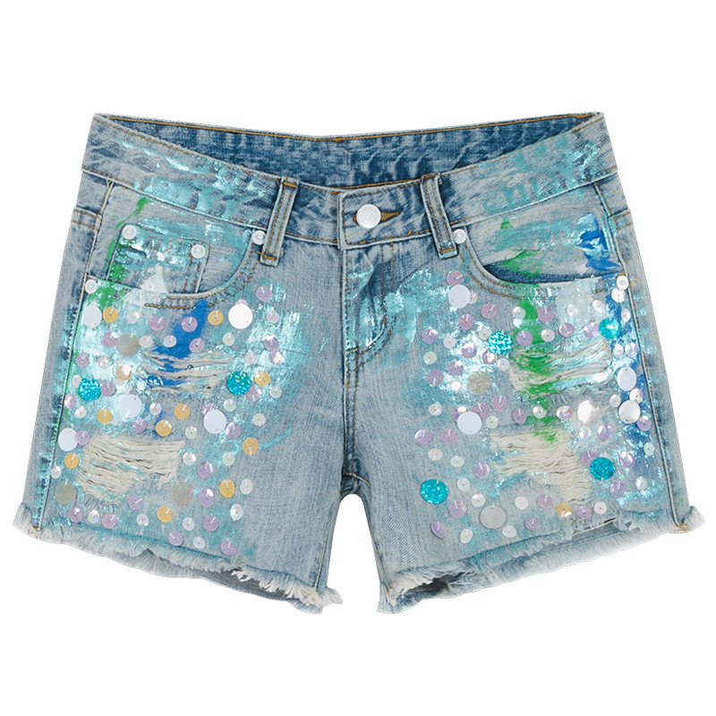 Summer Fashion Female Woman Colored Sequins  High Waisted Wide Leg Hole Blue Denim Shorts , Womens Ripped Glitter Jeans Shorts