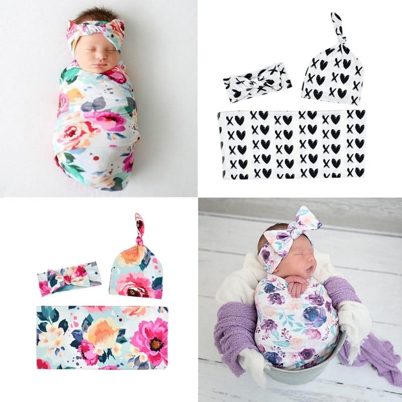 Baby Swaddle Blanket Newborn Baby Floral Swaddle Blanket Girl Boys Hat Receiving Blanket Infant Swaddle Wrap Headband 3pcs/set