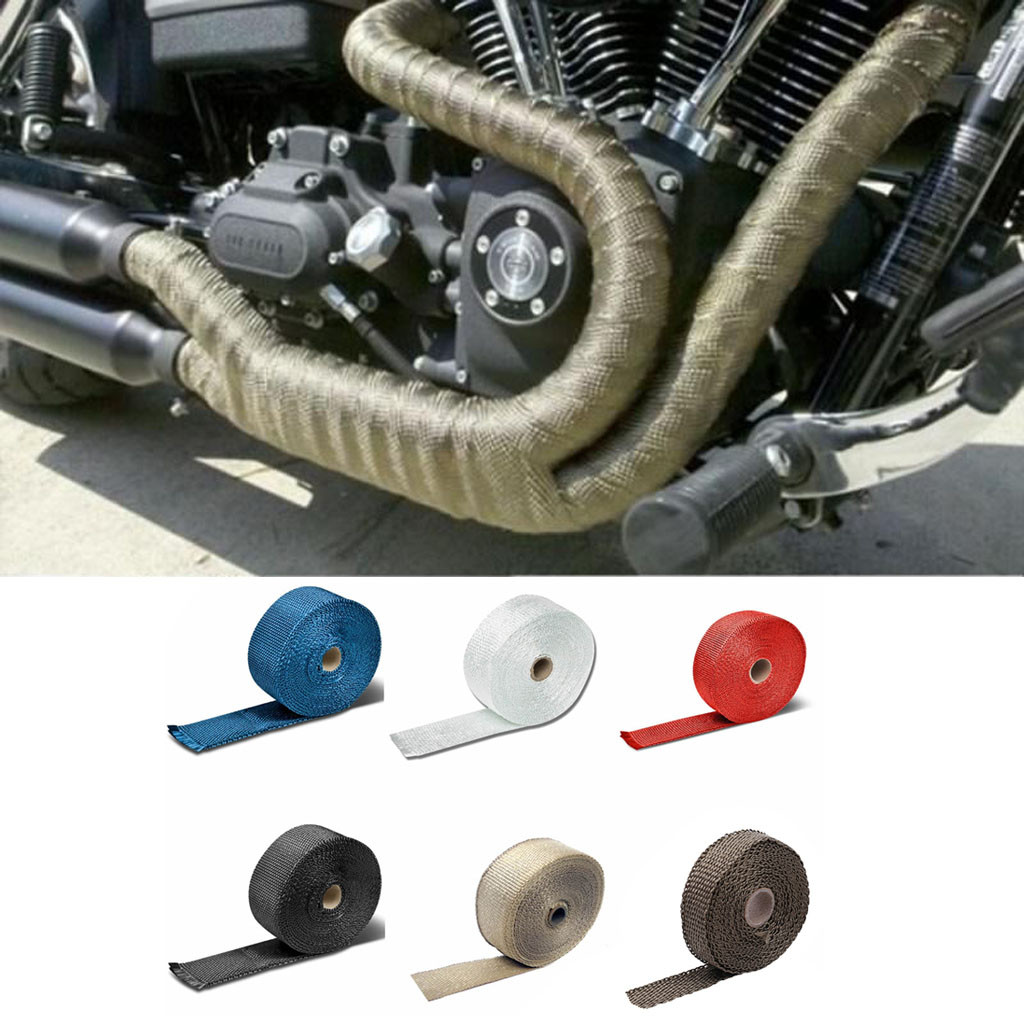 5M Car Modified Insulation Tape Motorcycle Exhaust Pipe Insulation Cotton Fiberglass Heat Wrap Tape|Exhaust & Exhaust Systems| |  - title=