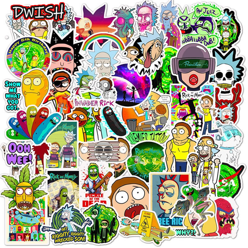 10 30 50pcs Cartoon Rick And Morty Sticker Waterproof Skateboard Suitcase Motorcycle Guitar Girl Funny Graffiti