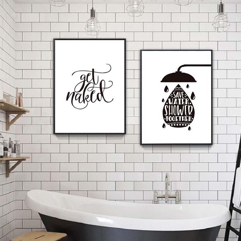 Black And White Wash Your Hands Get Naked Bathroom Quotes Posters Prints Canvas Painting Wall Art For Toilet Wash Room Decor Hot Promo 657fd Cicig