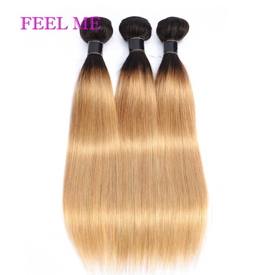 Feelme ombre pacotes de cabelo em linha reta 1b/27 dois tons peruano feixes de cabelo humano para as mulheres 1/3/4 pçs remy extensões tecer cabelo