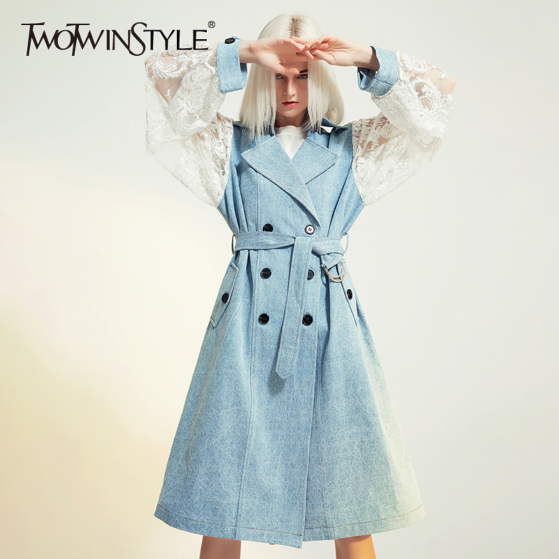 TWOTWINSTYLE Patchwork Lace Women's Windbreaker Lapel Collar Long Sleeve High Waist With Sashes Female Coats 2019 Fashion New