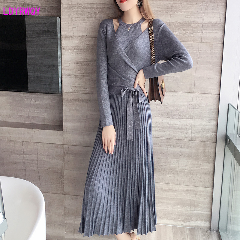 2019 Autumn New Korean Women's Net Red Temperament V-neck Long-sleeved Wrap Tie Slim Vest Pleated Dress Elastic Force Two-piece