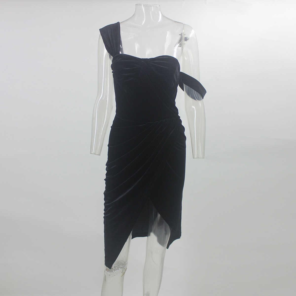 Cosygal 2019 Bên Chia Nhung Gợi Cảm Đêm Ra Clubwear Đầm Dự Tiệc Ôm Body Tay Dài TớI GốI Màu Đen Vestidos