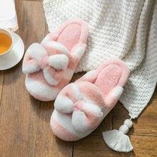 Зимние домашние меховые тапочки; Женская теплая хлопковая обувь;