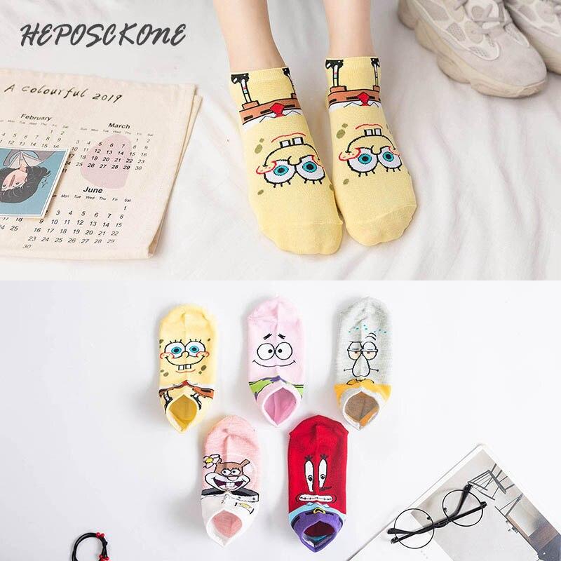 Summer Socks Happy Creative Lovely Cartoon Japanese Anime Pattern Spongebob Cute Socks Kawaii Fashion Cotton Stealth Ship Sox