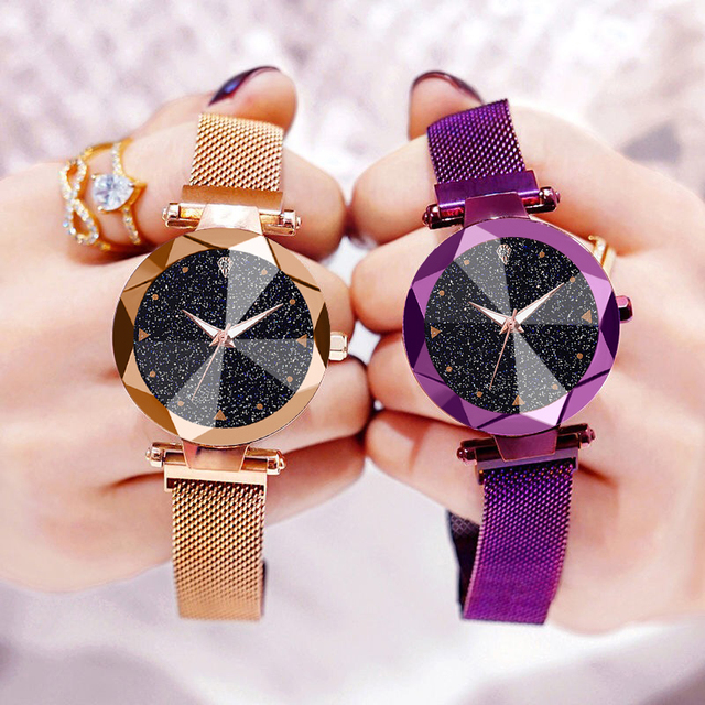 Women Watches Luxury Starry Sky Stainless Steel Mesh Magnetic Strap Ladies Watch Quartz Wrist Watch Relojes Zegarek Damski 2