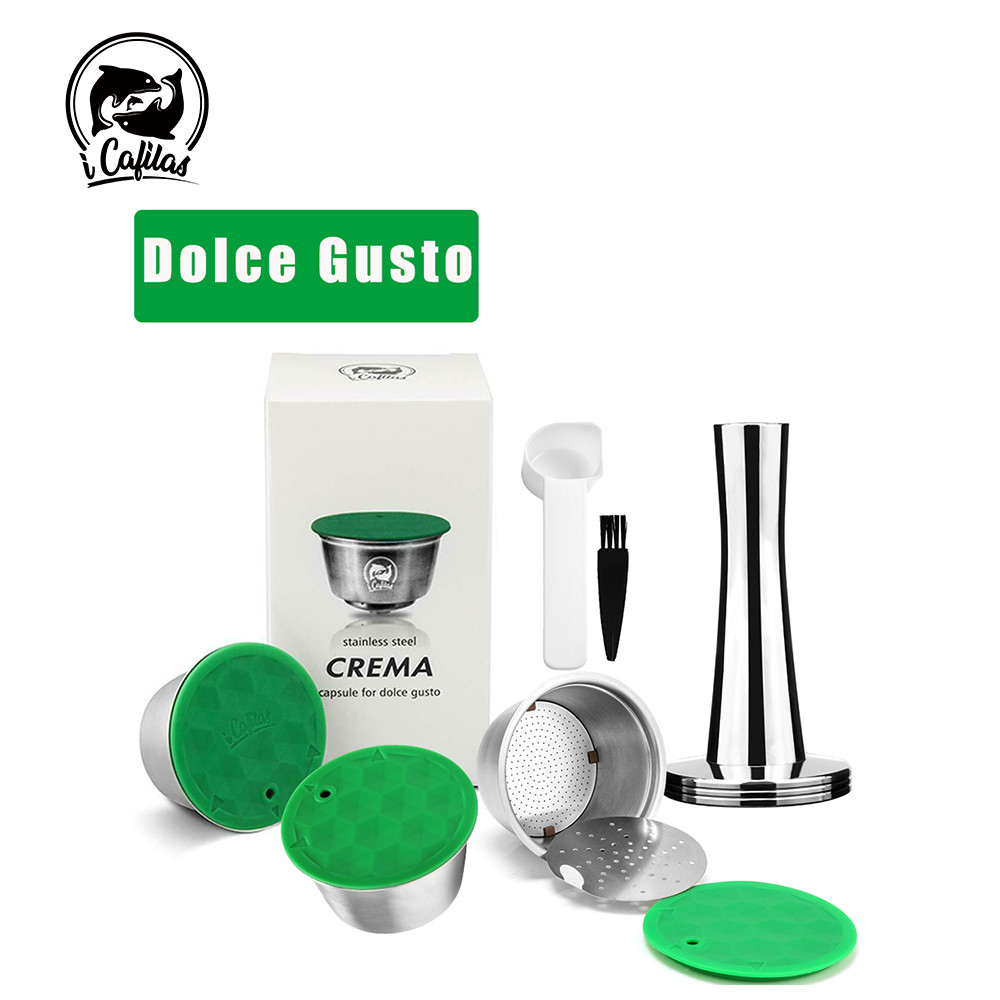Refillable Capsule Spoon Tamper Dolce Gusto Stainless Metal Nescafe FILTERS-CUP Icafilas