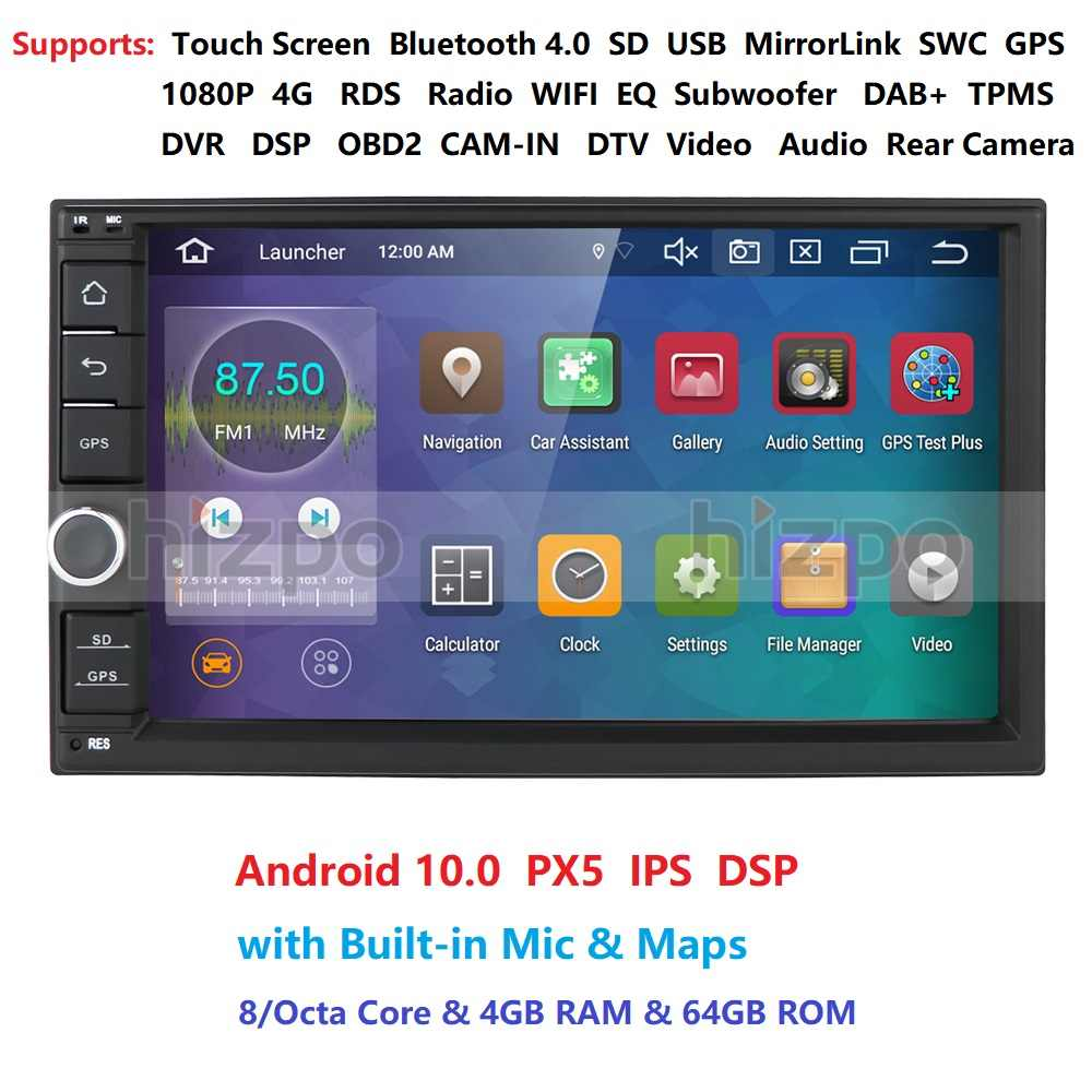 IPS OCTA Core Android 10.0 Double 2 Din 4G RAM 64G ROM Mobil Multimedia NON DVD Player dengan bluetooth WiFi OBD DVR DAB +