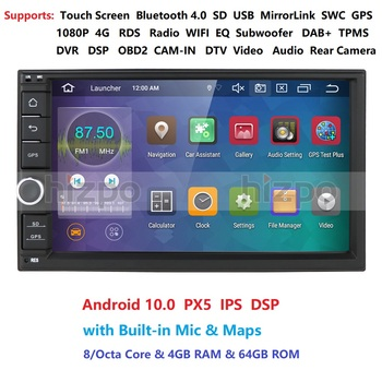 IPS OCTA Core Android 10.0 Double 2 Din 4G RAM 64G ROM Car Multimedia NON DVD Player with Bluetooth WiFi OBD DVR DAB+